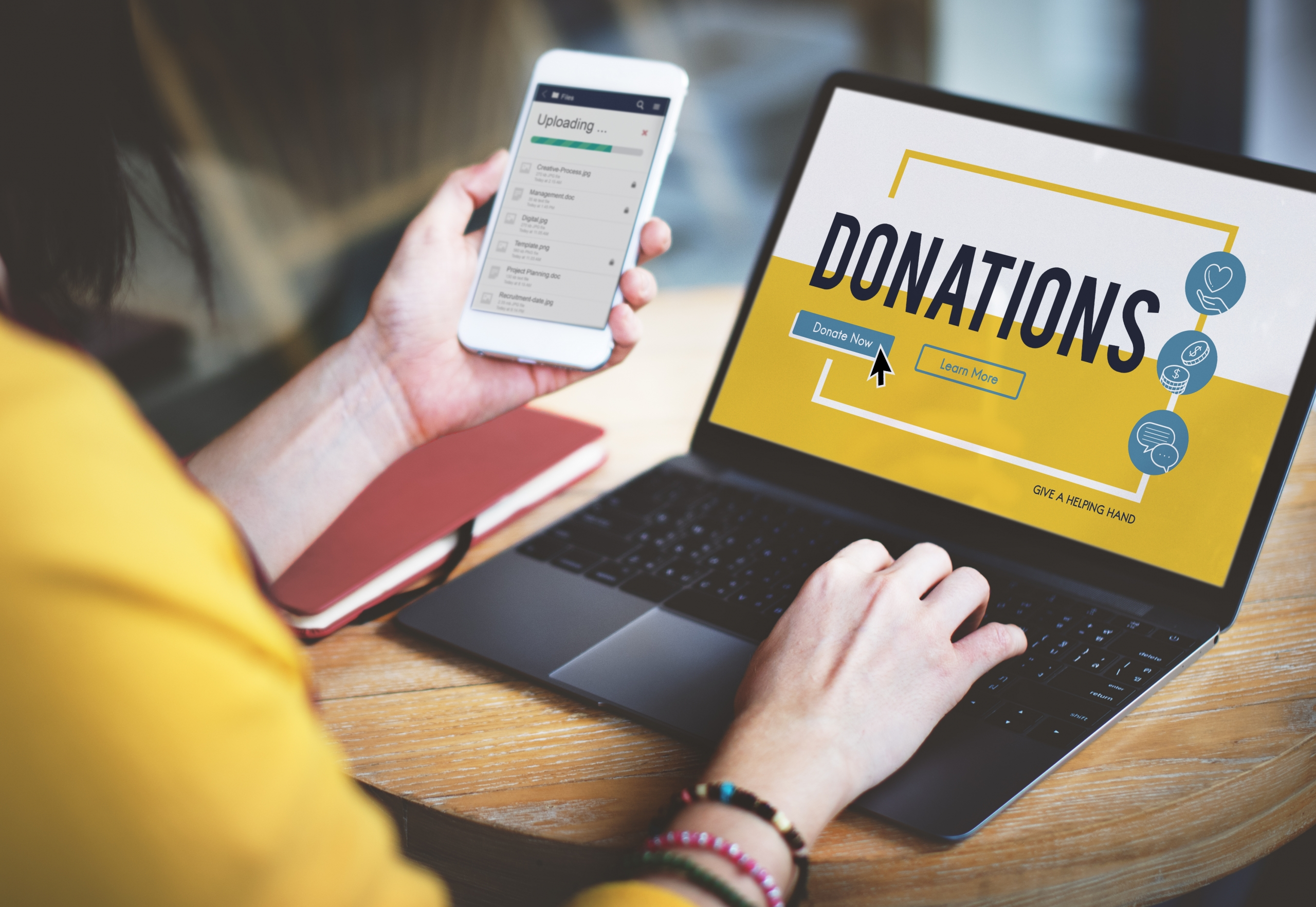 Woman Donating Online To Charity - SmarterPay Payments Business Solutions